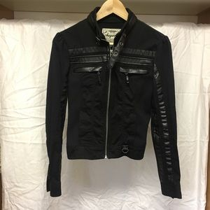 Sugarfly black, faux leather & cotton jacket
